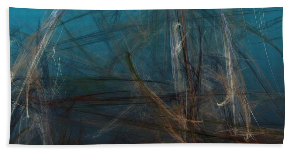 Abstract Digital Painting Hand Towel featuring the digital art Pond Water by David Lane