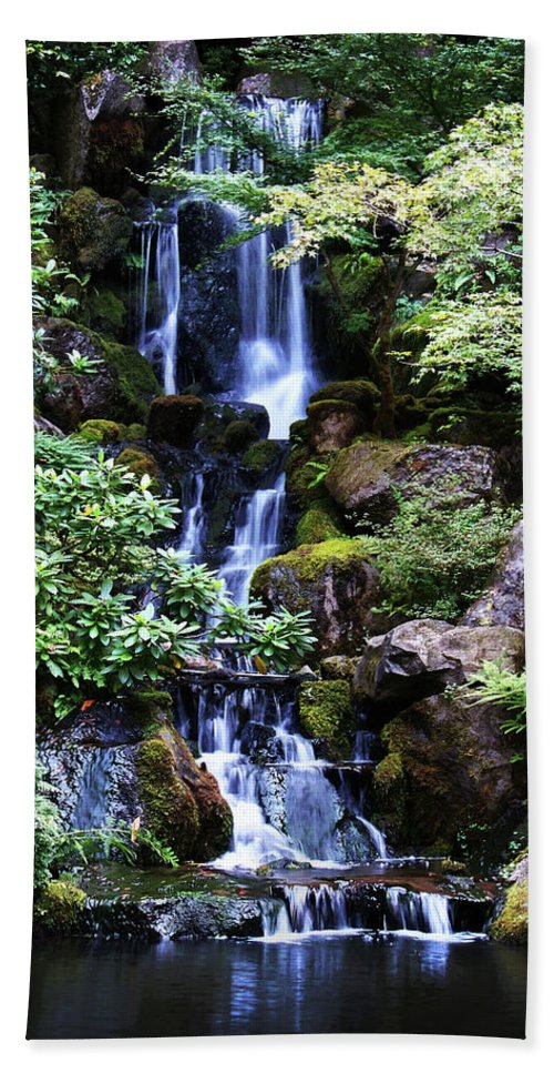 Zen Hand Towel featuring the photograph Pond Waterfall by Anthony Jones