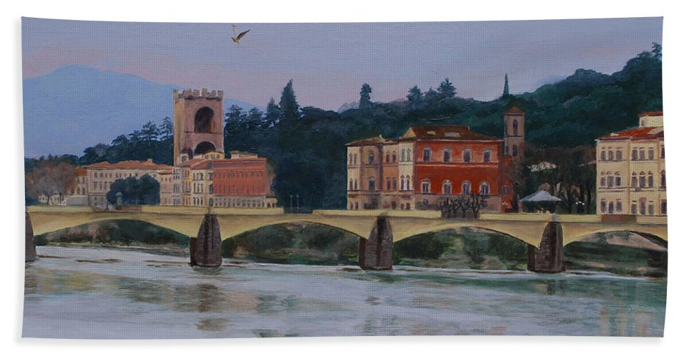 Acrylic Hand Towel featuring the painting Ponte Vecchio Landscape by Lynne Reichhart