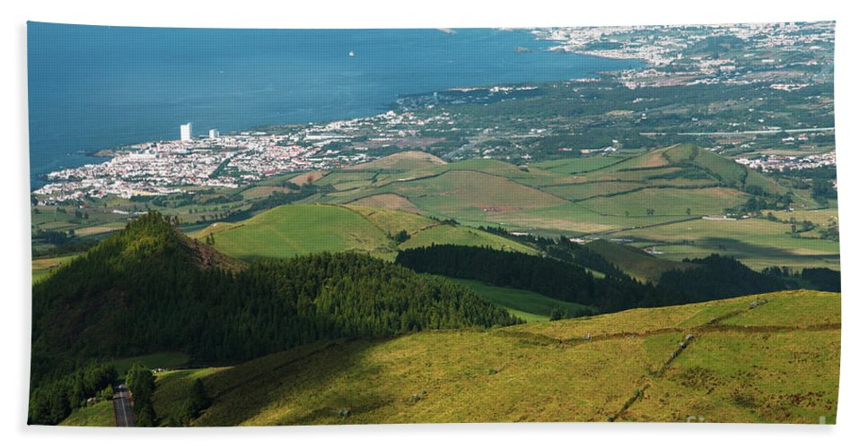 Azores Bath Sheet featuring the photograph Ponta Delgada And Lagoa by Gaspar Avila