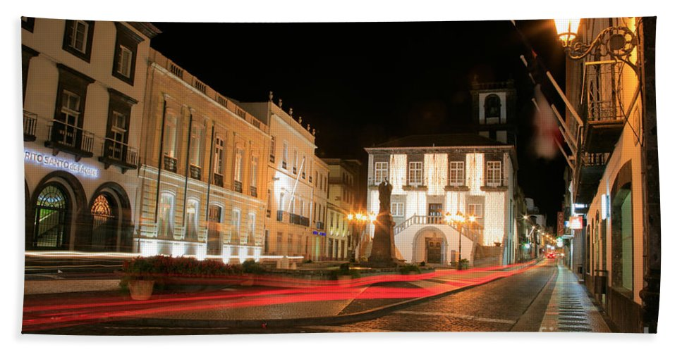 Azores Hand Towel featuring the photograph Ponta Delgada At Night by Gaspar Avila