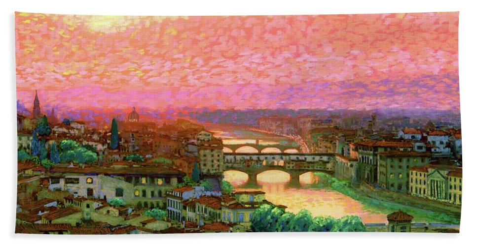 Ponte Vecchio Hand Towel featuring the painting Ponte Vecchio Sunset Florence by Jane Small