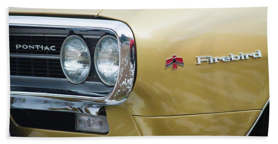 Automobiles Bath Sheet featuring the photograph Pontiac Firebird Gold 1967 by James BO Insogna
