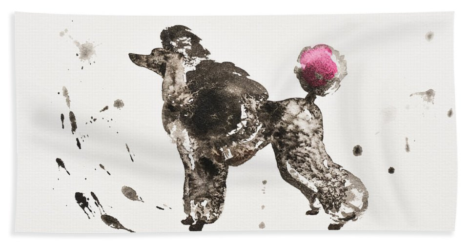 Poodle Hand Towel featuring the painting Poodle by Zaira Dzhaubaeva