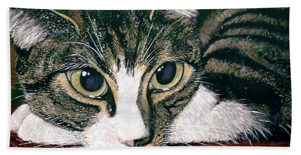 Cat Hand Towel featuring the painting Pooky by Arie Van der Wijst