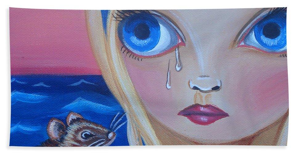 Pool Of Tears Hand Towel featuring the painting Pool Of Tears by Jaz Higgins