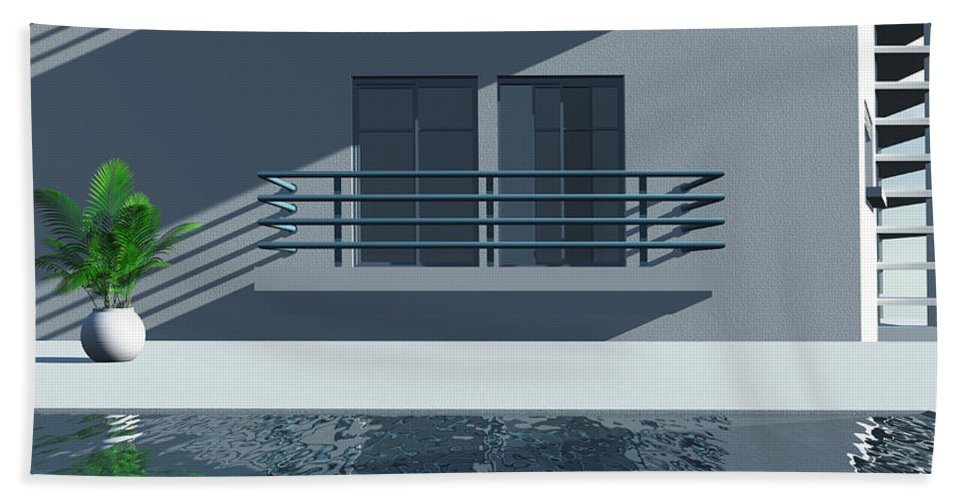 Abstract Hand Towel featuring the digital art Pool Side by Richard Rizzo