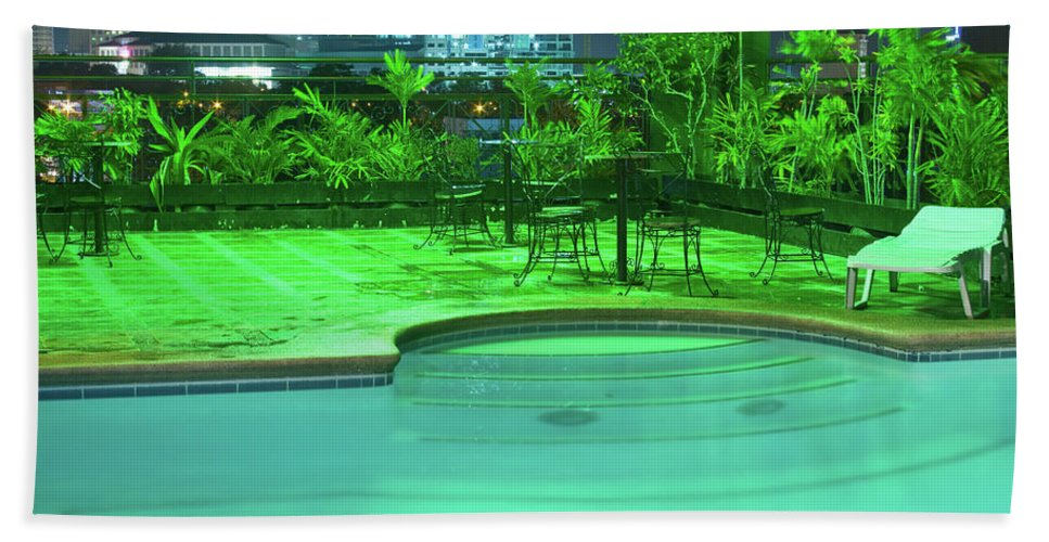 Insogna Bath Sheet featuring the photograph Pool With City Lights by James BO Insogna