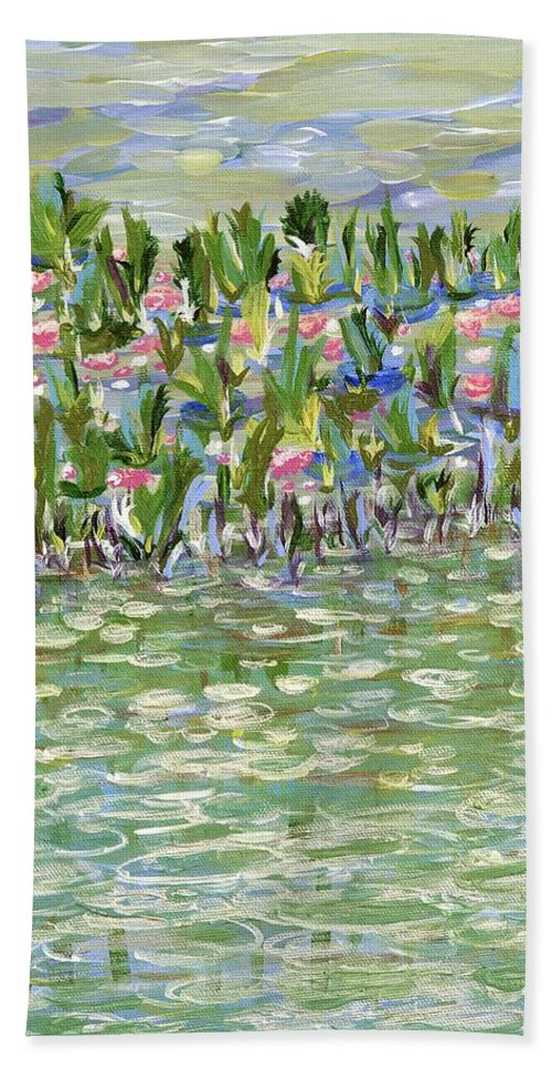 Landscape Hand Towel featuring the painting Pools Of Light by Sara Credito