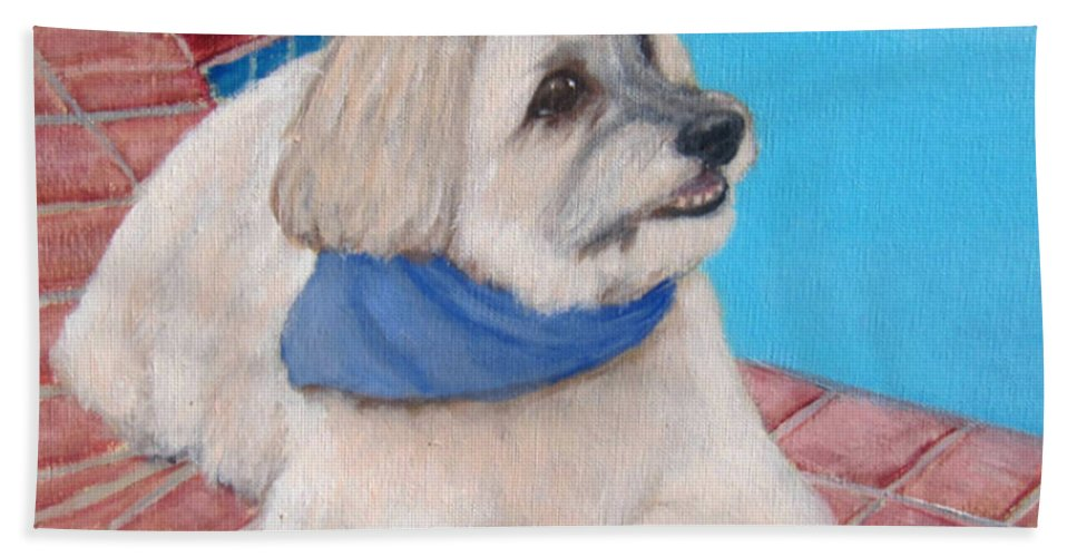 Dogs Hand Towel featuring the painting Poolside Puppy by Laurie Morgan