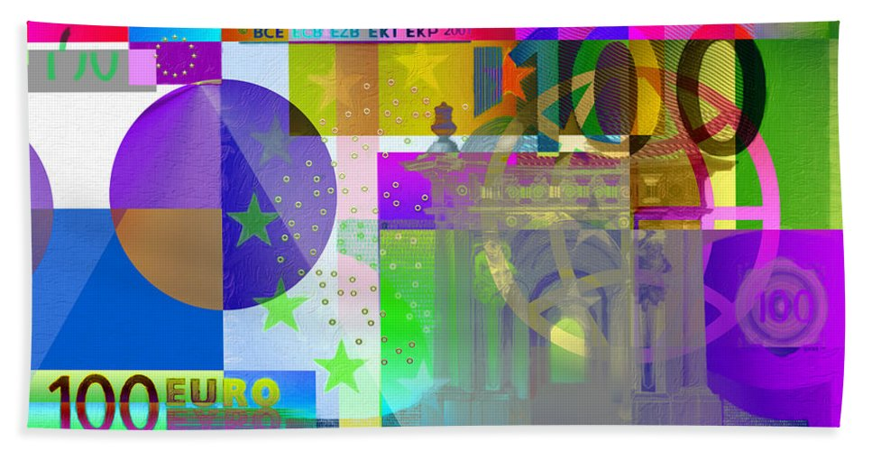 'visual Art Pop' By Serge Averbukh Hand Towel featuring the digital art Pop-art Colorized One Hundred Euro Bill by Serge Averbukh