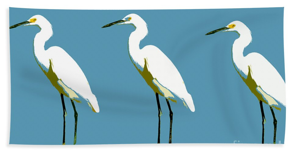 Egrets Hand Towel featuring the painting Pop Egrets by David Lee Thompson