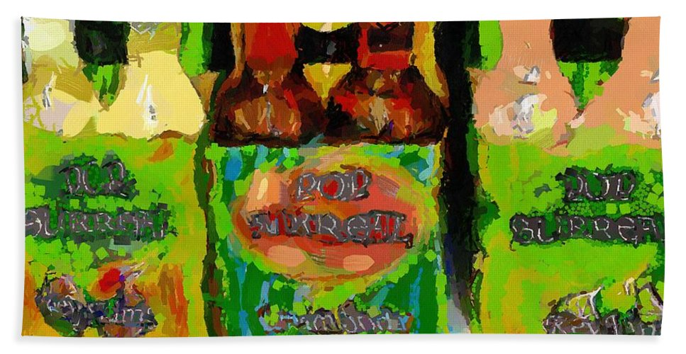 Bottles Bath Sheet featuring the painting Pop Goes The Surrealism by RC DeWinter