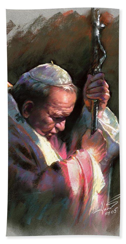 Portrait Bath Sheet featuring the pastel Pope John Paul II by Ylli Haruni
