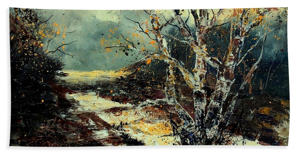 Tree Hand Towel featuring the painting Poplars 45 by Pol Ledent