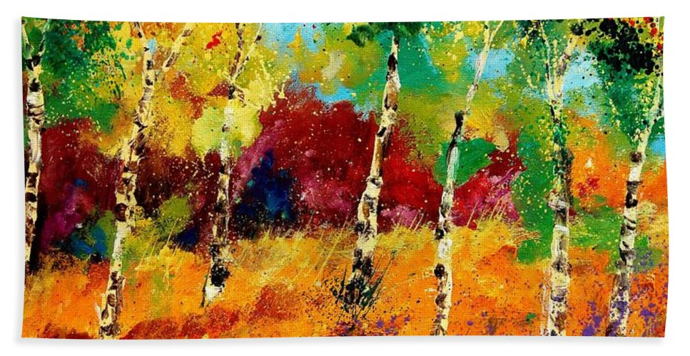 Poppy Bath Towel featuring the painting Poplars '459070 by Pol Ledent