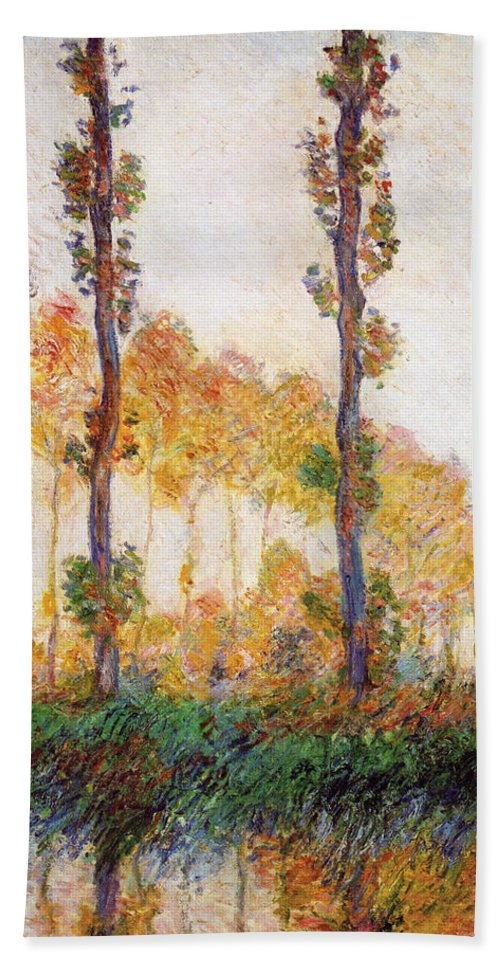 Claude Monet Hand Towel featuring the painting Poplars, Autumn by Claude Monet