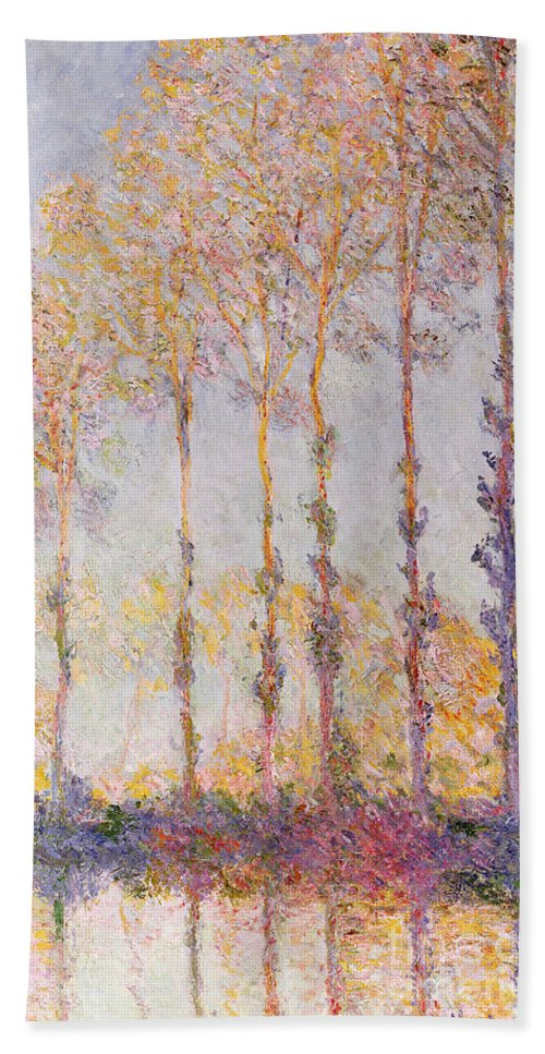 Poplars On The Banks Of The Epte Hand Towel featuring the painting Poplars On The Banks Of The Epte by Claude Monet