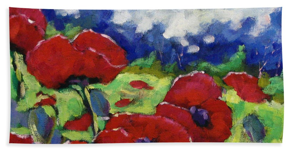 Art Hand Towel featuring the painting Poppies 003 by Richard T Pranke
