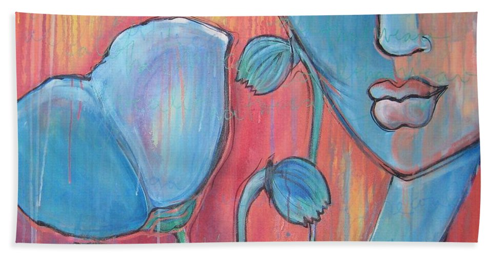 Pop Art Bath Towel featuring the painting Poppies 7 Luna Let Me Go by Laurie Maves ART