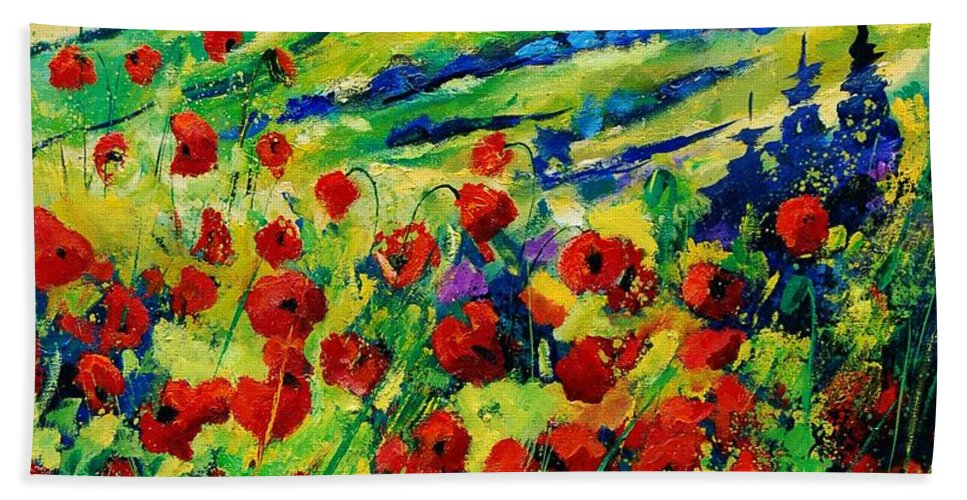 Flowers Bath Sheet featuring the painting Poppies 78 by Pol Ledent