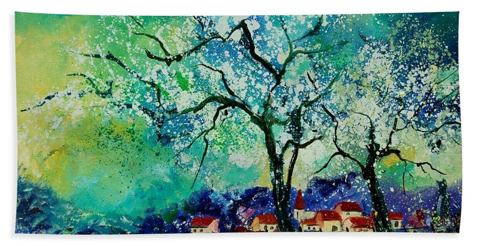 Landscape Hand Towel featuring the painting Poppies And Appletrees In Blossom by Pol Ledent