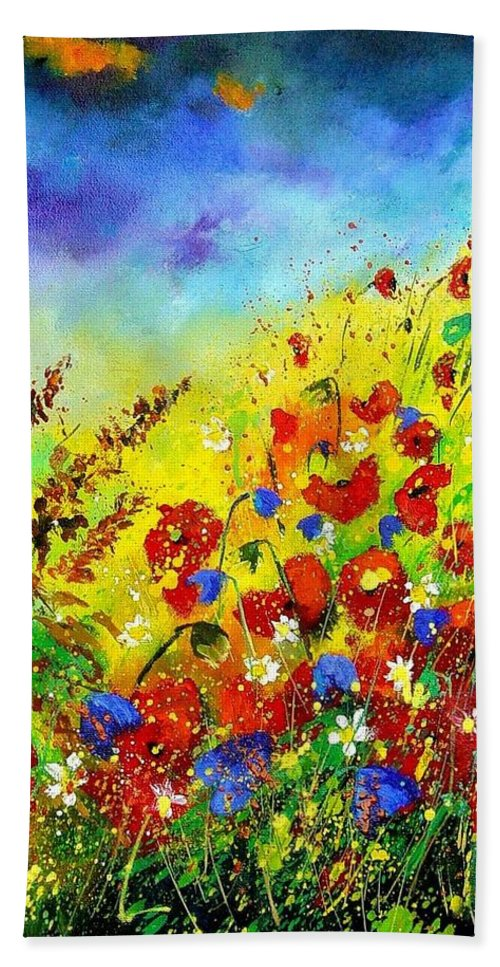 Poppies Hand Towel featuring the print Poppies and blue bells by Pol Ledent