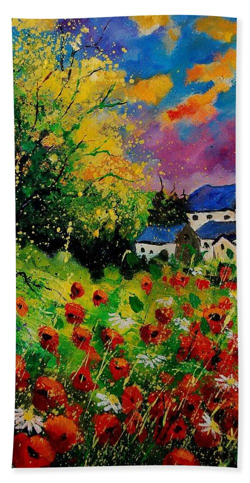 Landscape Hand Towel featuring the painting Poppies And Daisies 560110 by Pol Ledent