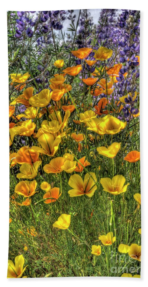Poppy Bath Sheet featuring the photograph Poppies And Lupines by Jim And Emily Bush