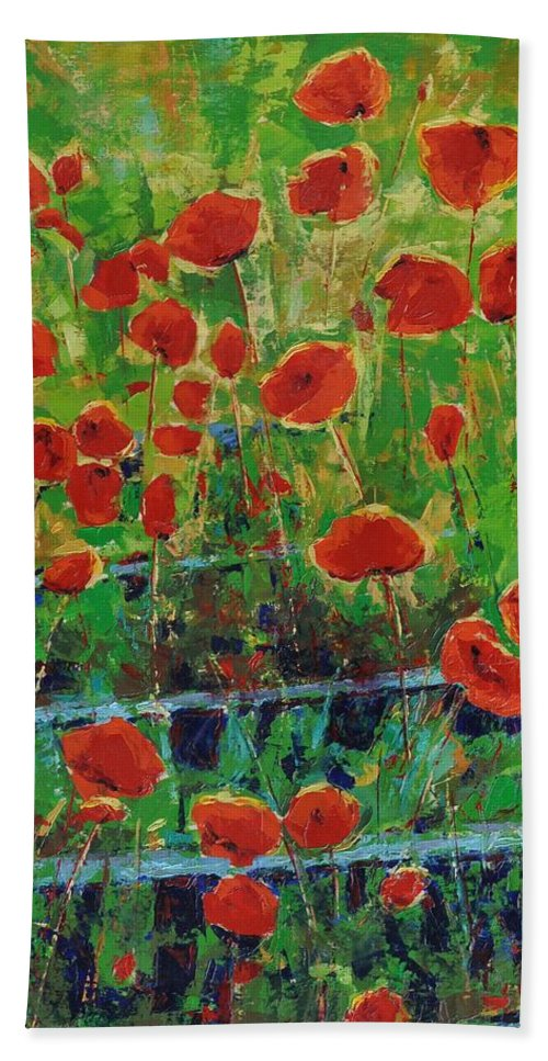 Poppies Hand Towel featuring the painting Poppies And Traverses 1 by Iliyan Bozhanov
