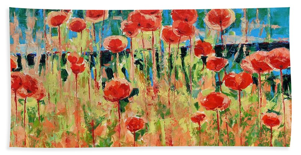 Poppies Bath Sheet featuring the painting Poppies And Traverses 2 by Iliyan Bozhanov