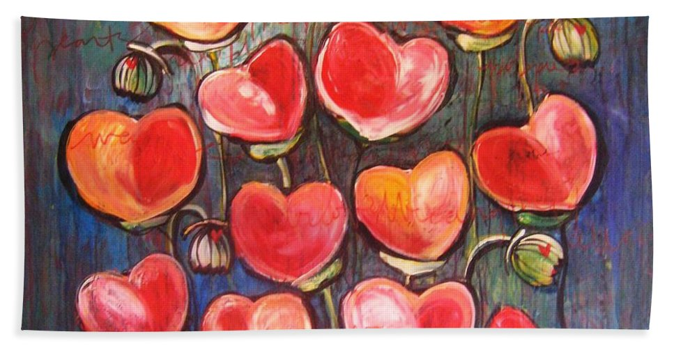 Poppies Bath Towel featuring the painting Poppies Are Hearts Of Love We Can Give Away by Laurie Maves ART