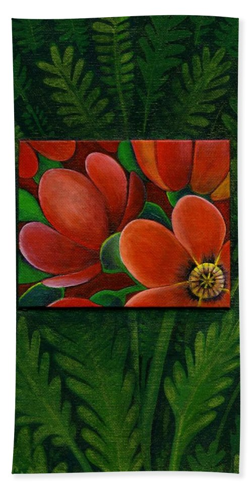 Poppy Bath Sheet featuring the painting Poppies by Helena Tiainen