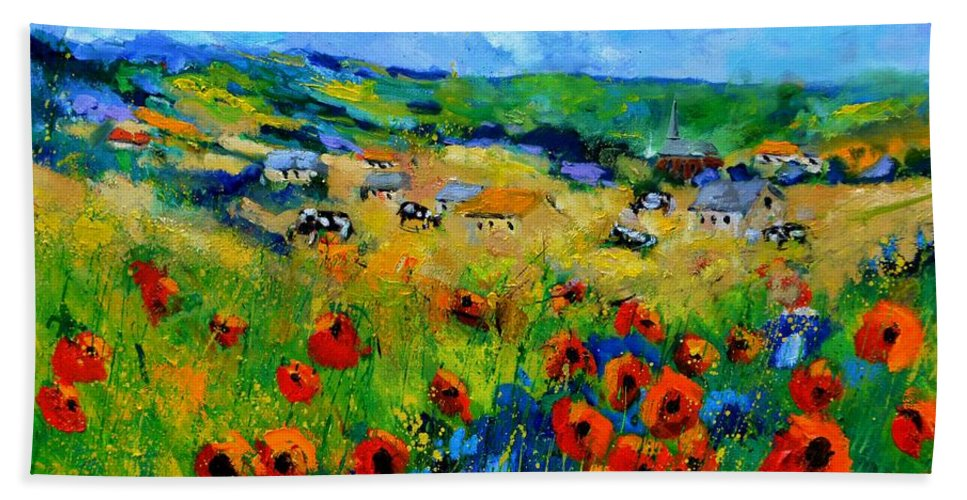 Landscape Hand Towel featuring the painting Poppies in Ieper by Pol Ledent