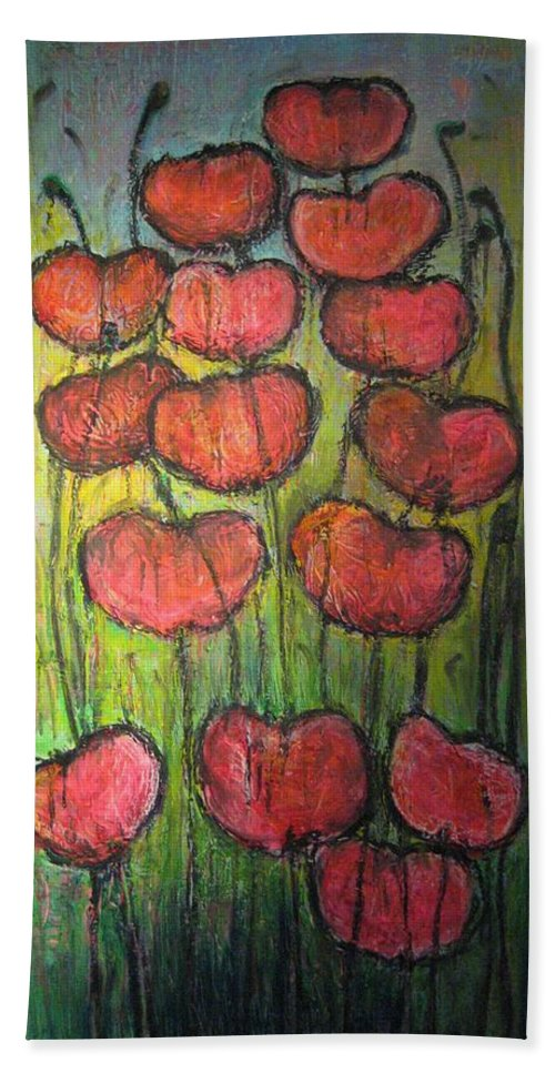 Poppies Bath Towel featuring the painting Poppies In Oil by Laurie Maves ART
