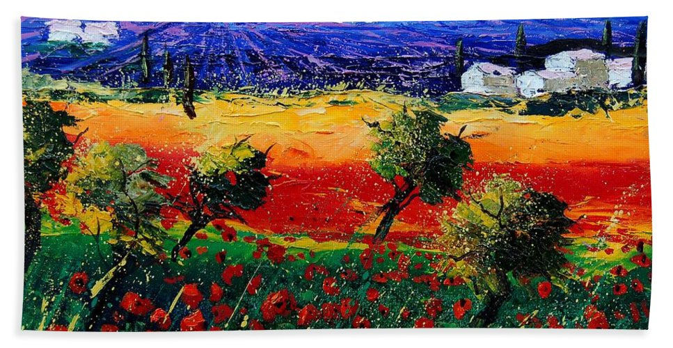 Poppy Bath Towel featuring the painting Poppies In Provence by Pol Ledent