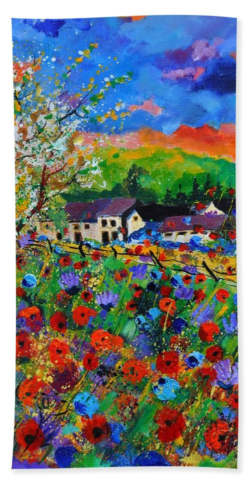 Poppies Hand Towel featuring the painting Poppies in Sorinnes by Pol Ledent