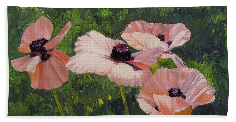 Floral Bath Sheet featuring the painting Poppies In The Sun by Lea Novak