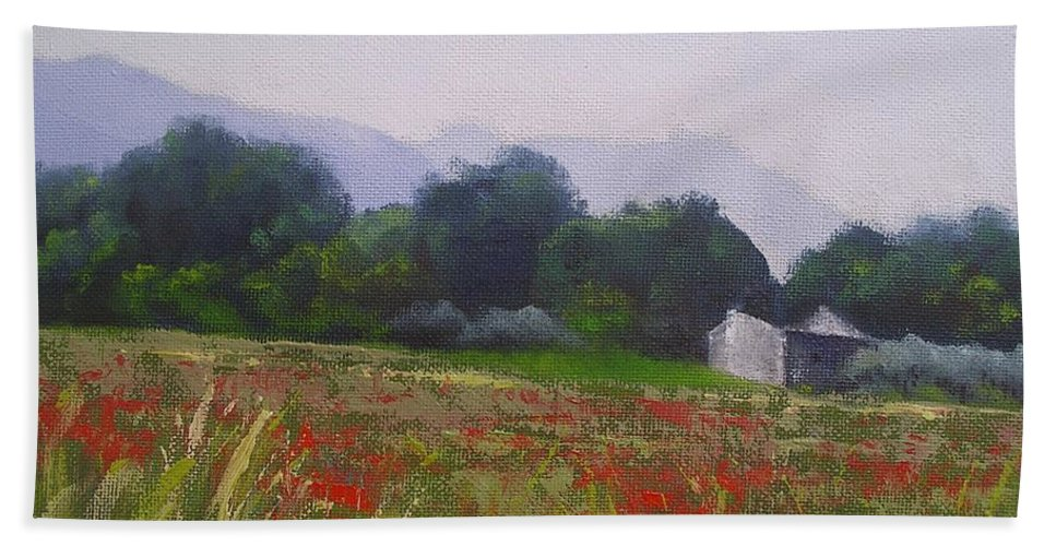 Tuscan Farm Painting Hand Towel featuring the painting Poppies In Tuscany by Chris Hobel