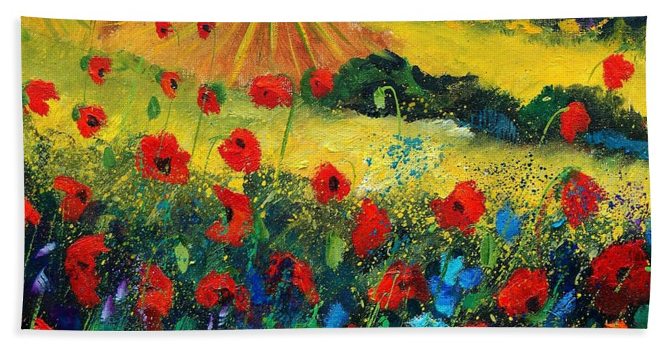 Flowers Bath Towel featuring the painting Poppies In Tuscany by Pol Ledent