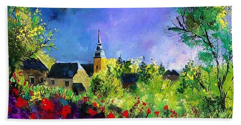 Flowers Bath Towel featuring the painting Poppies In Villers by Pol Ledent