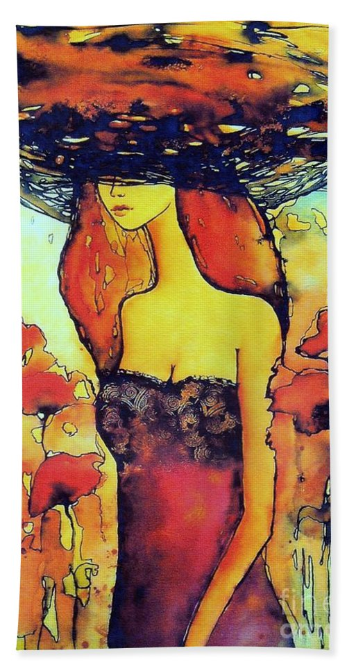 Red Bath Towel featuring the painting Poppies Lady by Suzann Sines