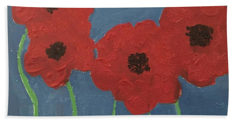 Bath Sheet featuring the painting Poppies by Lisa Porter
