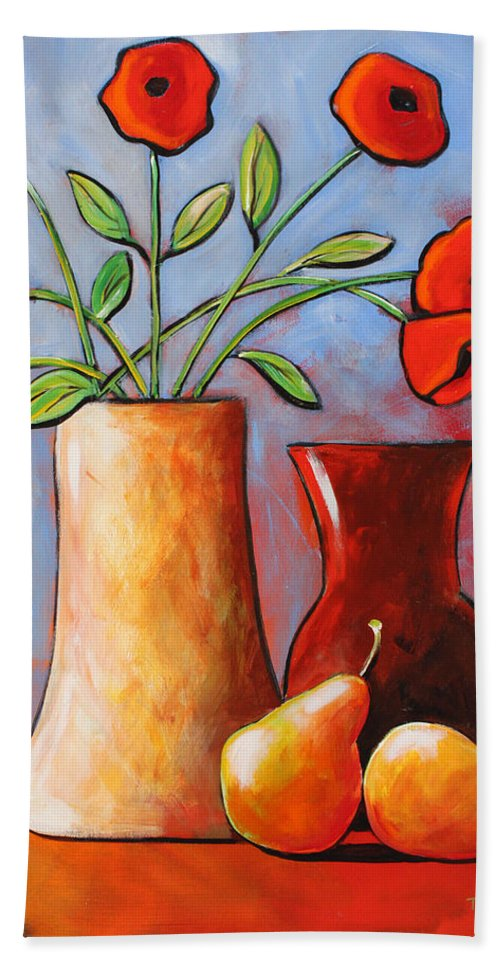 Poppies Hand Towel featuring the painting Poppies N Pears by Toni Grote