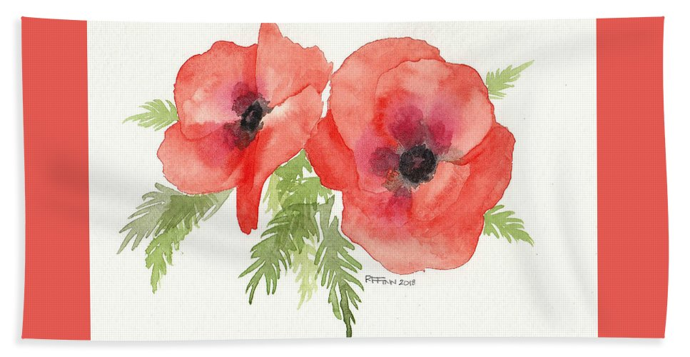 Flora Hand Towel featuring the painting Poppies by Rowena Finn