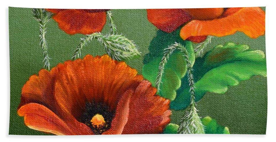 Poppy Painting Bath Sheet featuring the painting Poppies by Sherry Cullison