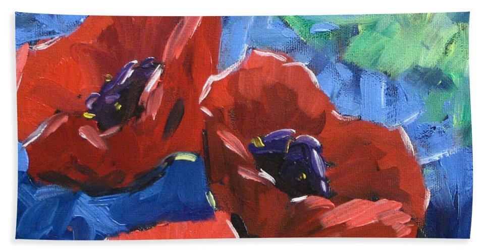 Art Bath Towel featuring the painting Poppies Splender by Richard T Pranke