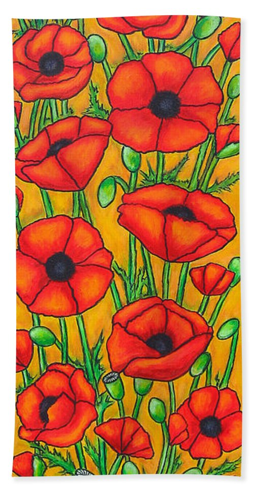 Poppies Bath Towel featuring the painting Poppies Under The Tuscan Sun by Lisa Lorenz