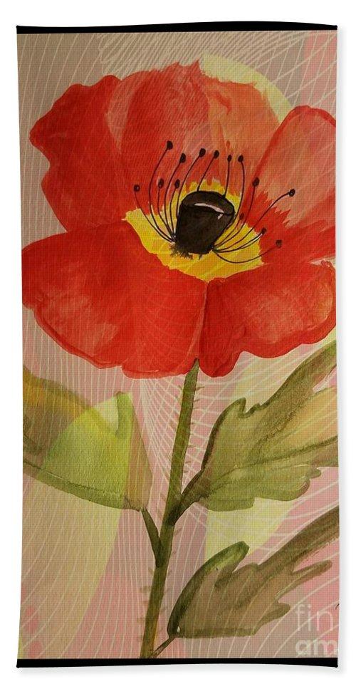 Poppy Art Hand Towel featuring the mixed media Poppy Art 17-01 by Maria Urso