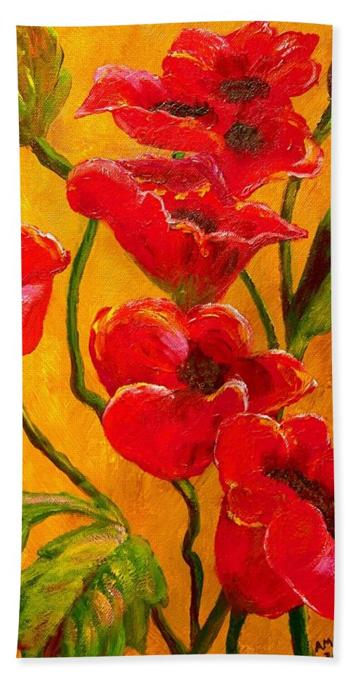 Poppy Poppies Flowers Flower Floral Flora Remembrance Day Nature Botanical Watercolour Art Painting Red Yellow Gold Green Hand Towel featuring the painting Poppy Bouquet by Joy of Life Art Gallery